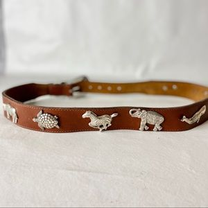 Vintage Brown Leather And Silver Animal Belt